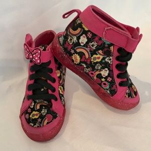 DISNEY Girls Minnie Mouse Hightop Sneakers Size 9